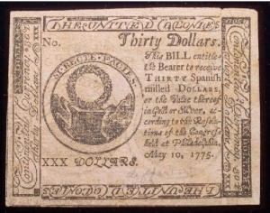 True Dollar Guarantie - A 30 Bill Issued By The Continental Congress For Thirty Spanish Milled Dollars