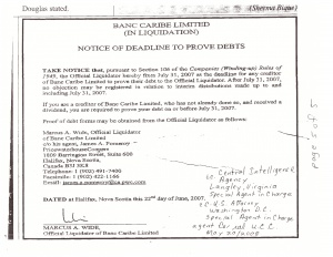 Rita Laframboise Tradex – Notice Of Deadline Banc Caribe